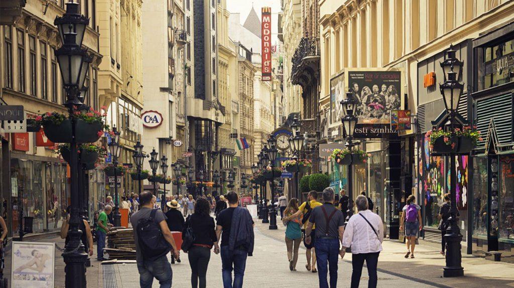 Vaci calle en Budapest