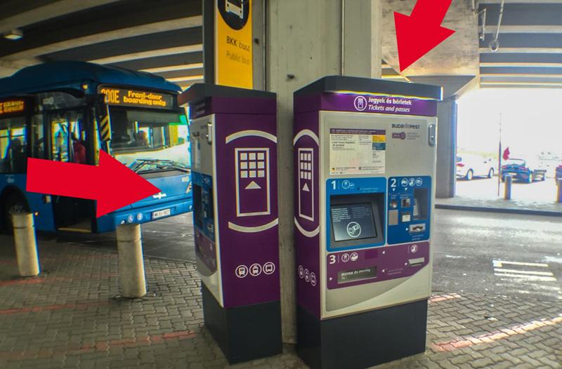 Máquinas vendedoras de pasajes del transporte público de Budapest en el aeropuerto Liszt Ferenc